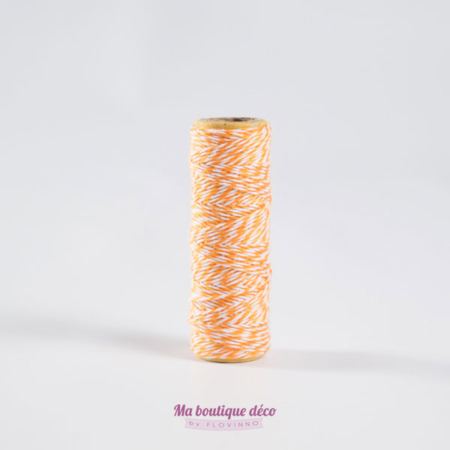 bakers twine ficelle bicolore orange et blanc