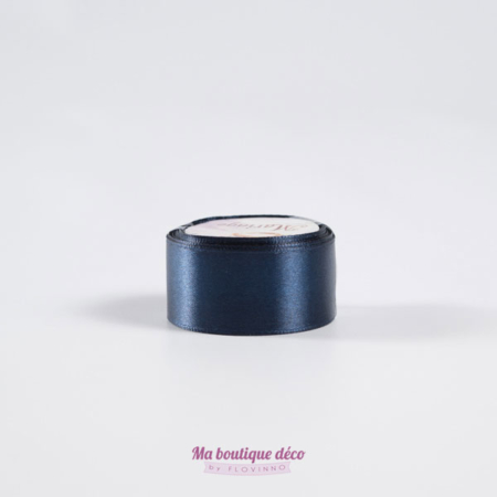 ruban satin 25mm bleu marine