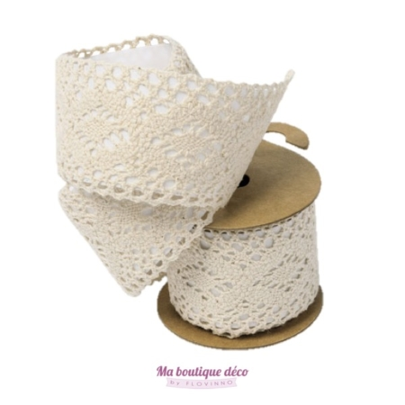 ruban tissu adhésif dentelle ivoire