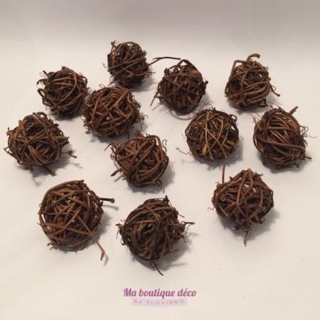 mini boules en rotin chocolat