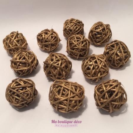 mini boules en rotin or