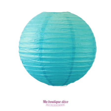 lanterne boule en papier turquoise