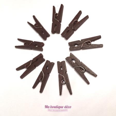 mini pinces à linge chocolat