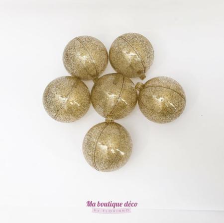 boules pailletées en plexi à garnir or