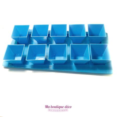 plateau de verrines turquoise en plastique