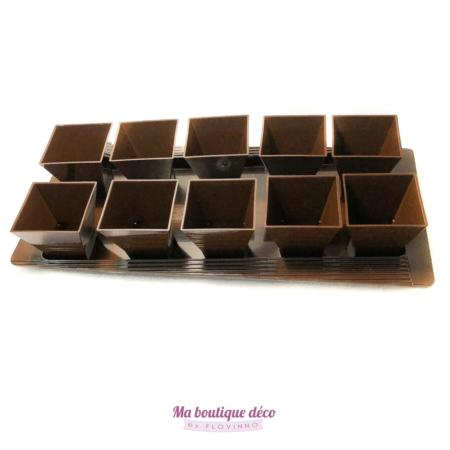 plateau de verrines chocolat en plastique