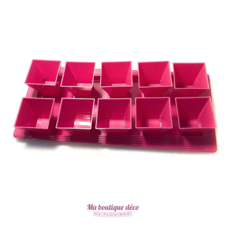 plateau de verrines rose fuchsia en plastique